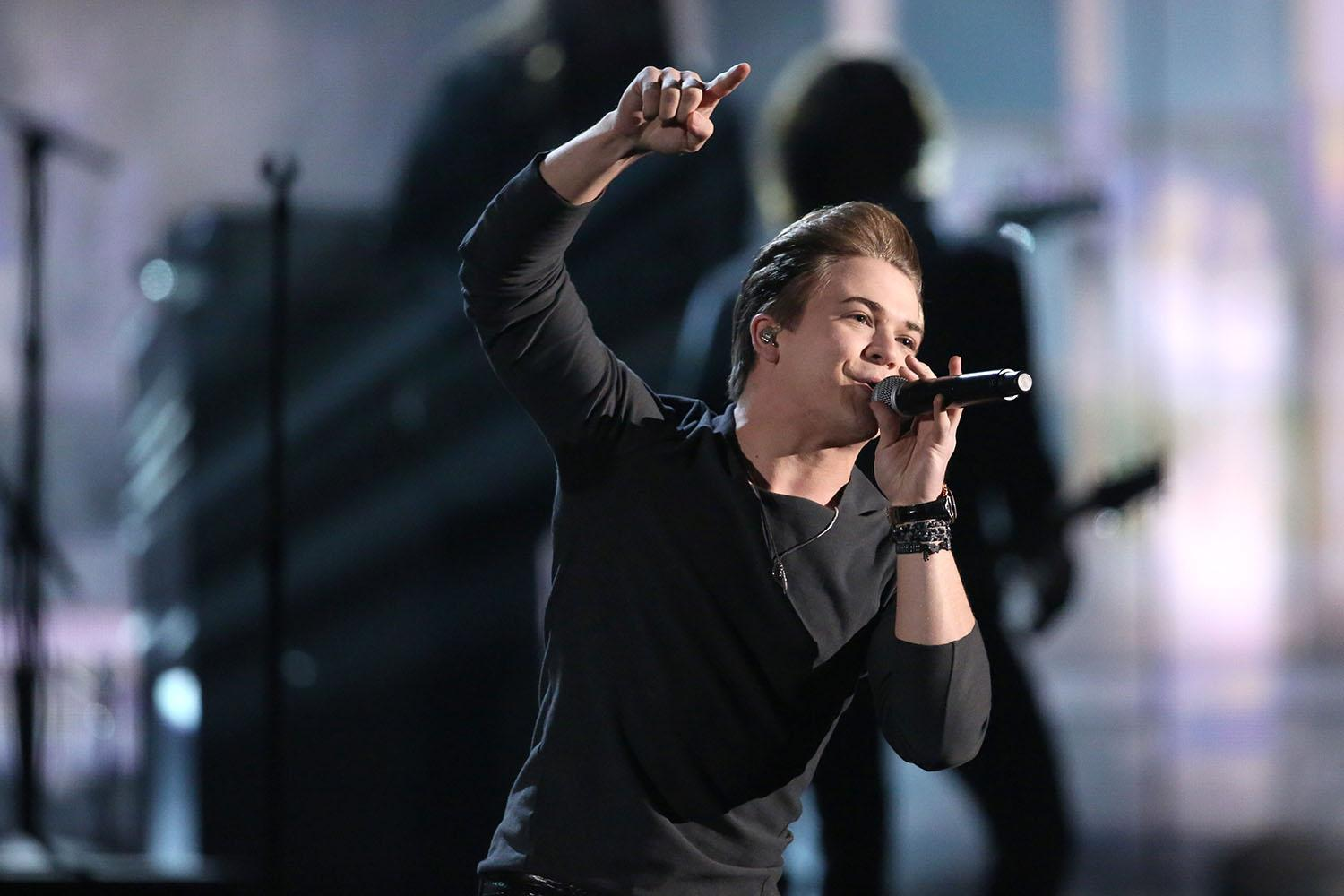 "Hunter Hayes performs ""Invisible"" on stage at the 56th annual Grammy Awards at Staples Center on Sunday, Jan. 26, 2014, in Los Angeles. (Photo by Matt Sayles/Invision/AP)"