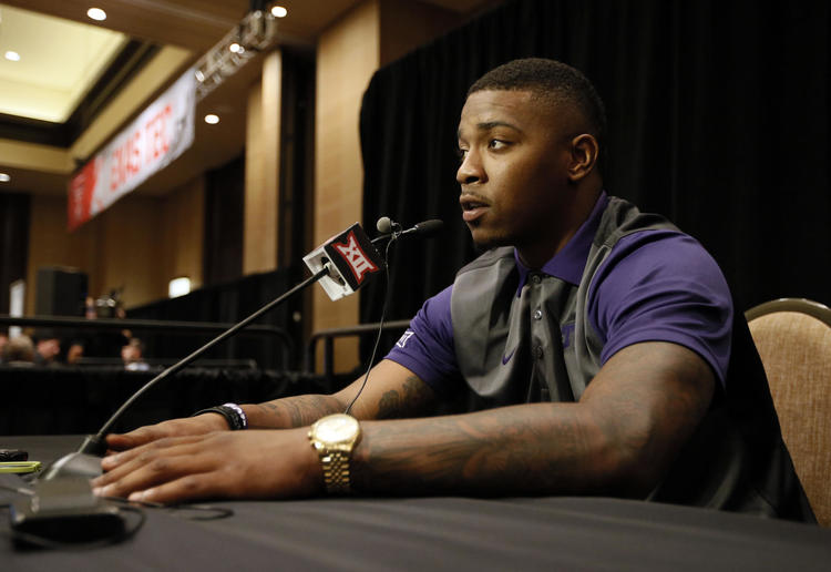 TCU quarterback Trevone Boykin talks to reporters during Big 12 Conference Football Media Days Monday, July 20, 2015, in Dallas.