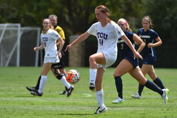 Allison Ganter takes the ball during Sunday's 4-0 victory over Oral Roberts University.