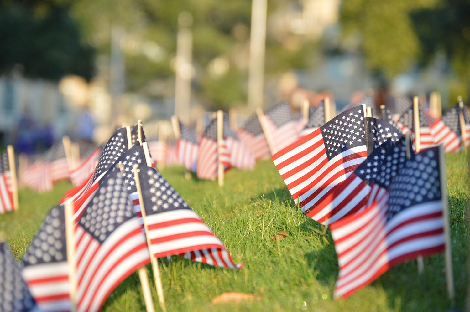 Flags remind students of the lives lost on 9/11.