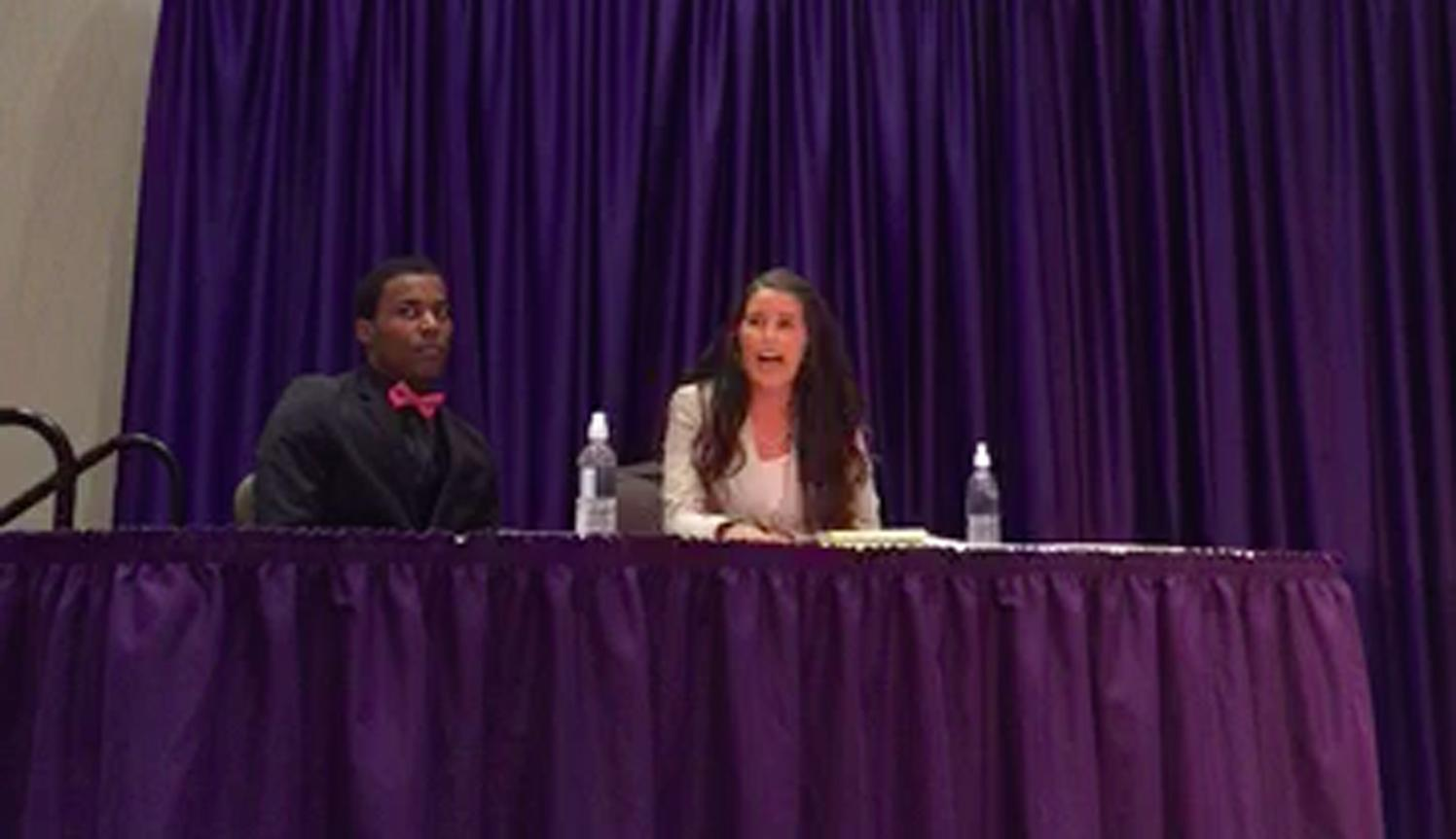 Shelby Whitson and Donald Griffin, the advocates for campus carry during the debate, answer questions from the audience. (Live stream by Alex Gaffigan)
