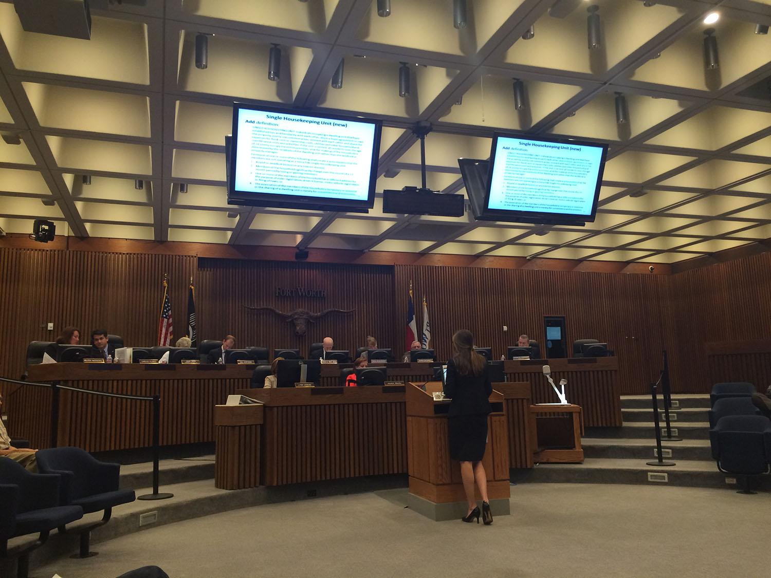 Student Body President Maddie Reddick advocates for students in front of the Fort Worth Zoning Commission.