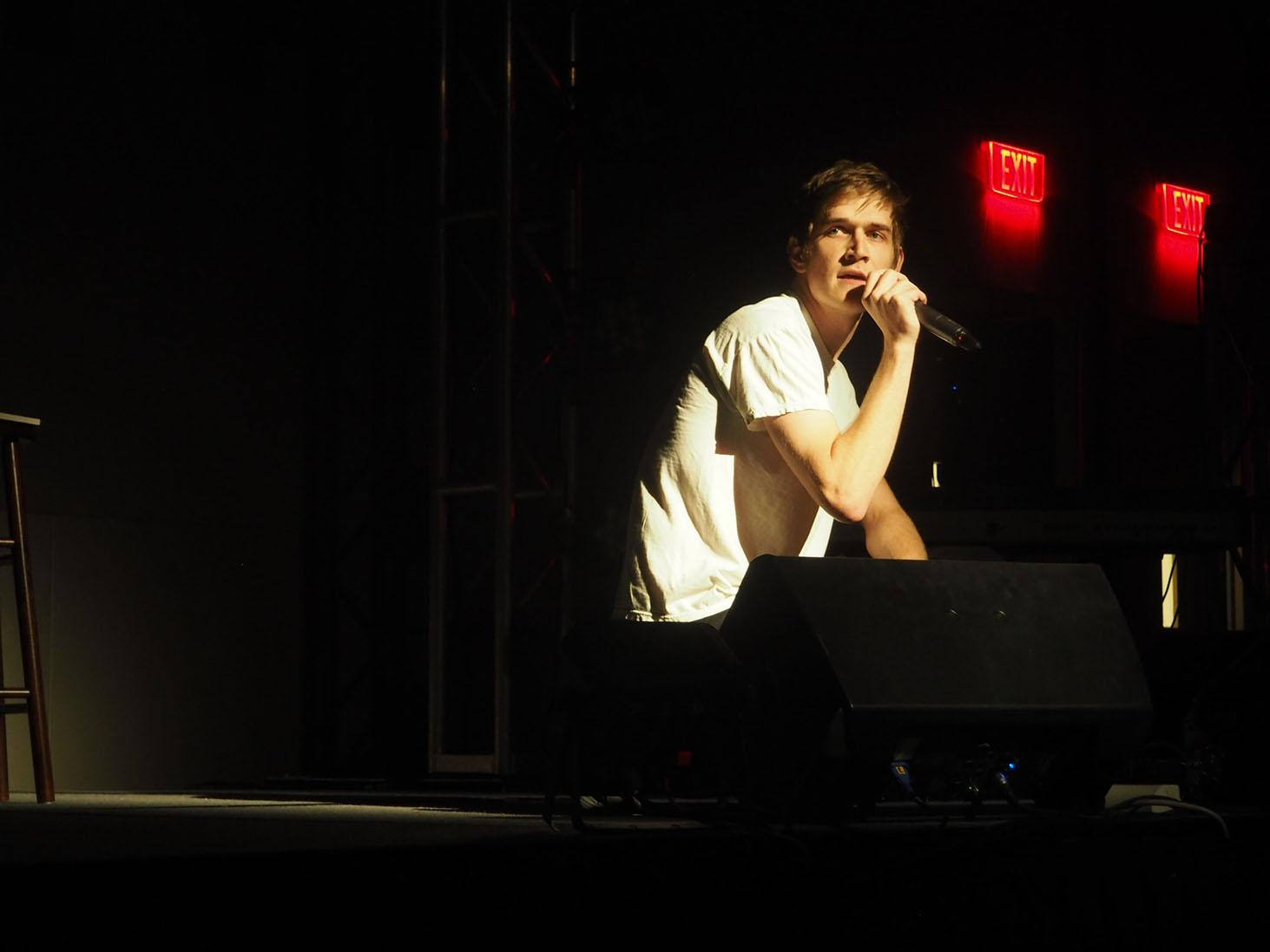 Comedian Bo Burnham performing his opening number in the BLUU Ballroom on Friday, Sept 4, 2015. (Makenzie Stallo/TCU360)