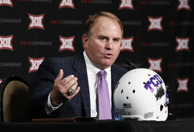 TCU head football coach Gary Patterson responds to questions from reporters at Big 12 Conference Football Media Days Monday, July 20, 2015, in Dallas.