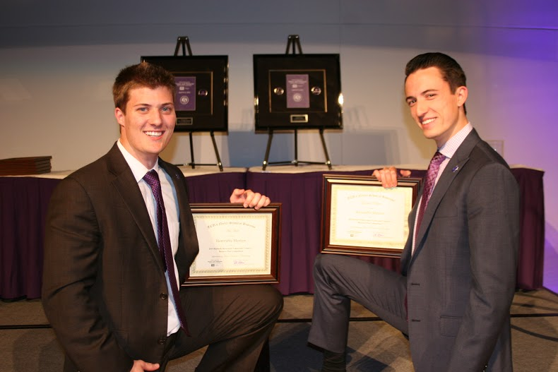 TCU students Nik Hall (left) and Garrett Adair (right) in the April 2015 Values and Ventures competition.