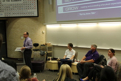 Panelists address students during the fireside forum on Tuesday, Sept. 22.
