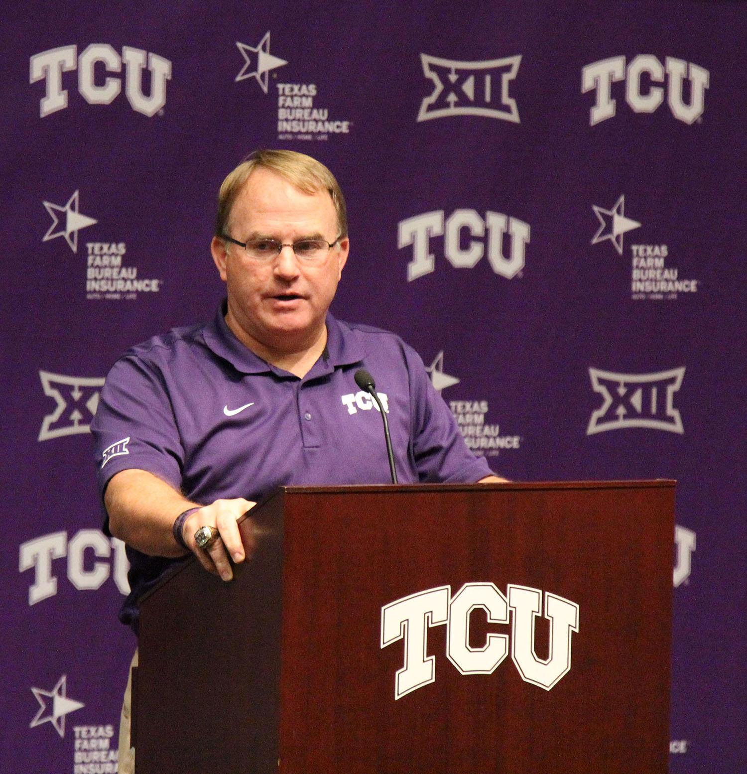 Head coach Gary Patterson speaks at Tuesday's press conference.