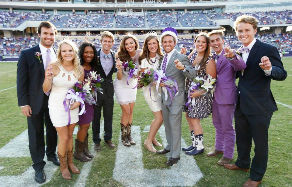 The finalists for Mr. and Ms. TCU 2014 pose for a picture with winners Cody Westphal and Larissa Bogle.