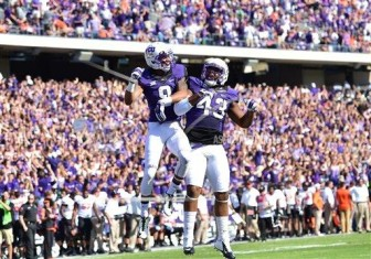 Josh Doctson and Cliff Murphy celebrate a touchdown against Oklahoma State last October at Amon G. Carter Stadium.
