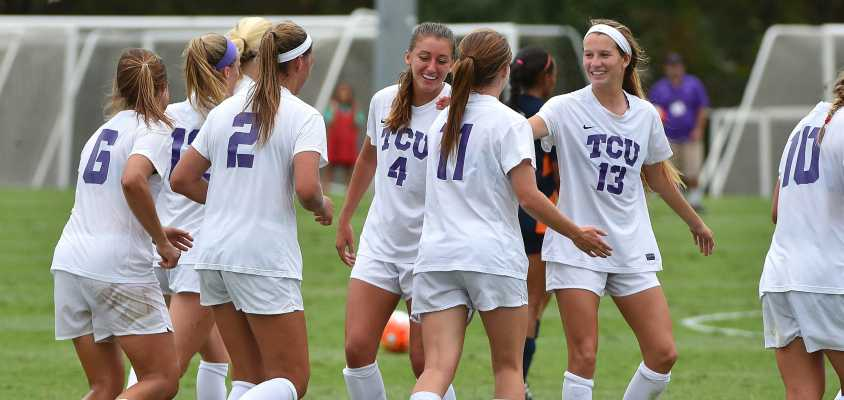 TCU soccer celebrates during its 4-0 victory over UTSA Sunday afternoon