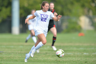 Emma Heckendorn dribbles the ball against Texas Tech