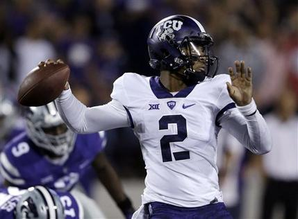 TCU quarterback Trevone Boykin (2) passes to a teammate during the first half against Kansas State on Oct. 10. (AP Photo/Orlin Wagner)