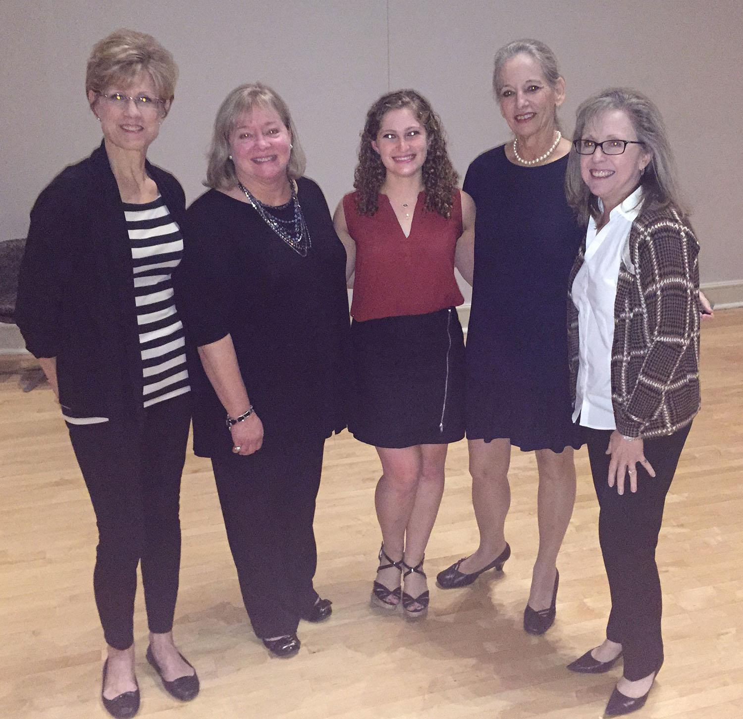 Assistant Professor of Professional Practice Sharon Canclini (far right), Assistant Professor of Professional Practice Marie Stark (right), nursing student Rachel Rudberg (middle), speaker Dr. Rachel Adatto (left) and Associate Dean for Nursing Suzy Lockwood (far left) pose for a photo at the event