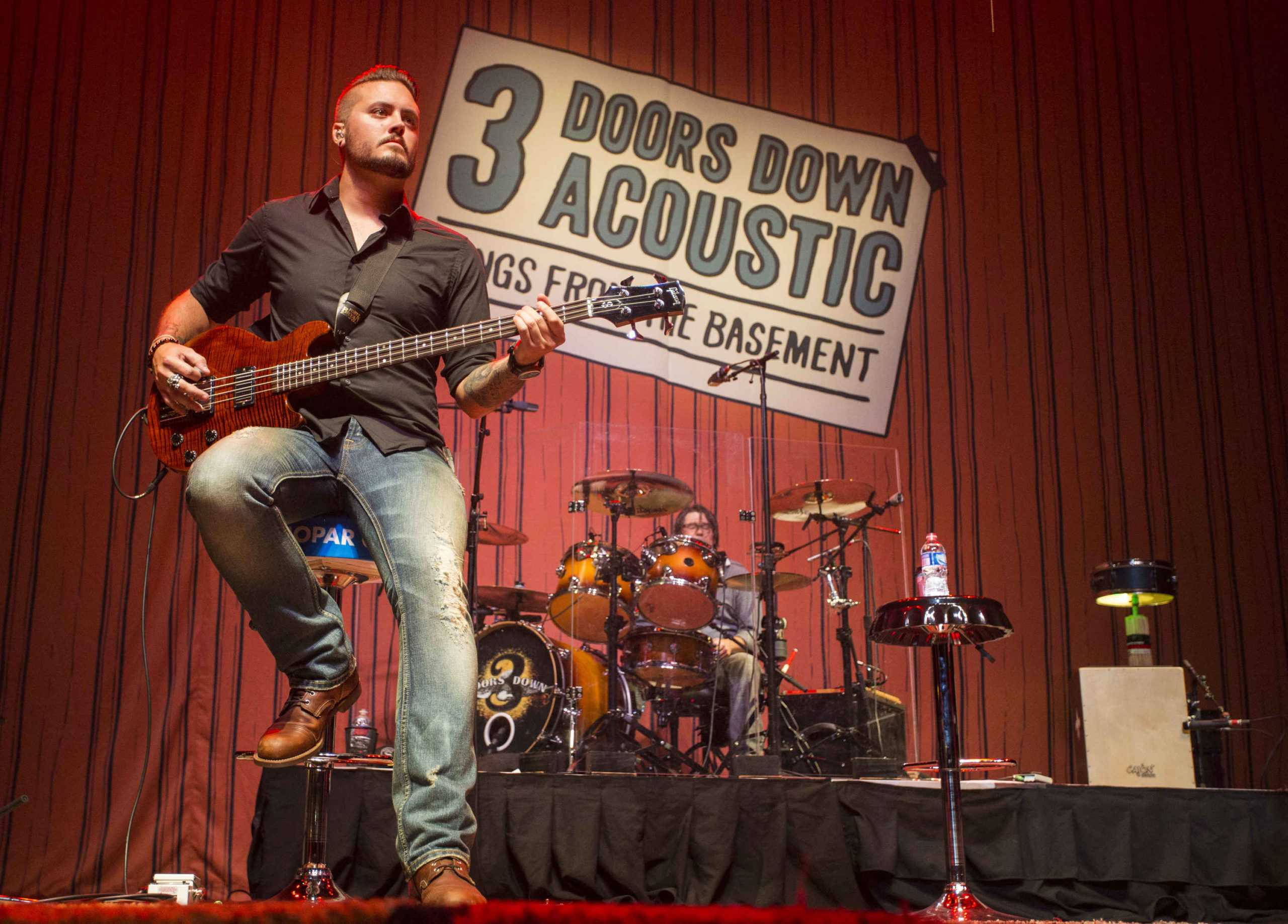 Justin Biltonen and Greg Upchurch with 3 Doors Down performs during the Songs From the Basement Tour at The Tabernacle on Wednesday, Sep. 10, 2014, in Atlanta. 3 Doors Down will perform at the Carrollton Festival on Nov. 7. (Photo by Katie Darby/Invision/AP)
