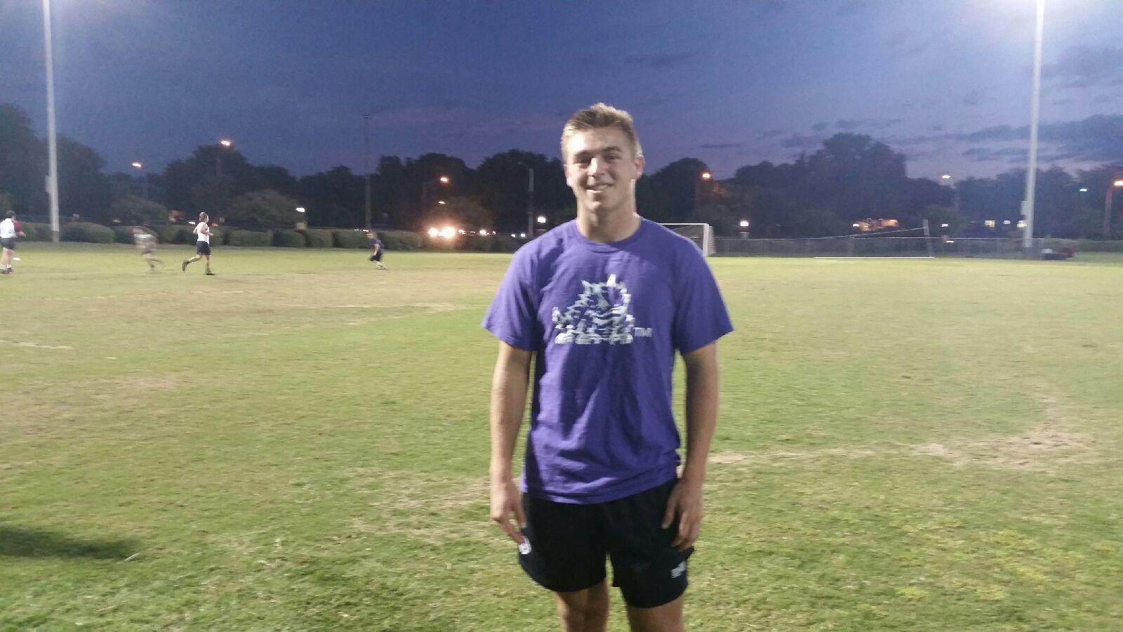 Bryce Watson poses before rugby practice