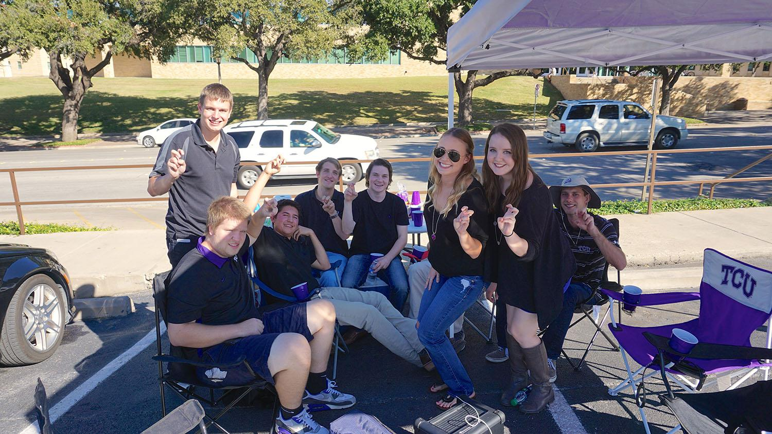 TCU students tailgate outside the Daniel-Meyer Athletic Complex as they eagerly await for the game to begin.