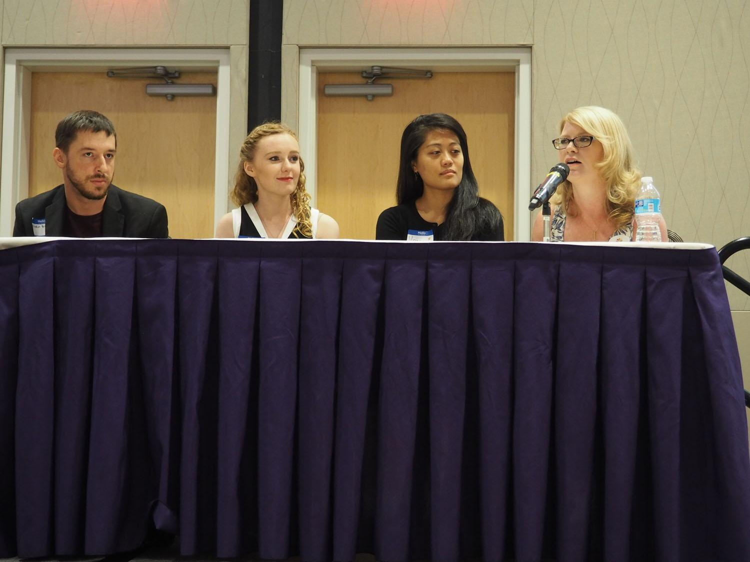 Dustin Brennan, Mackenzie    Holst, Vanna Ngo, and Amber Jackson served as panelist for the millennial perspectives panel.