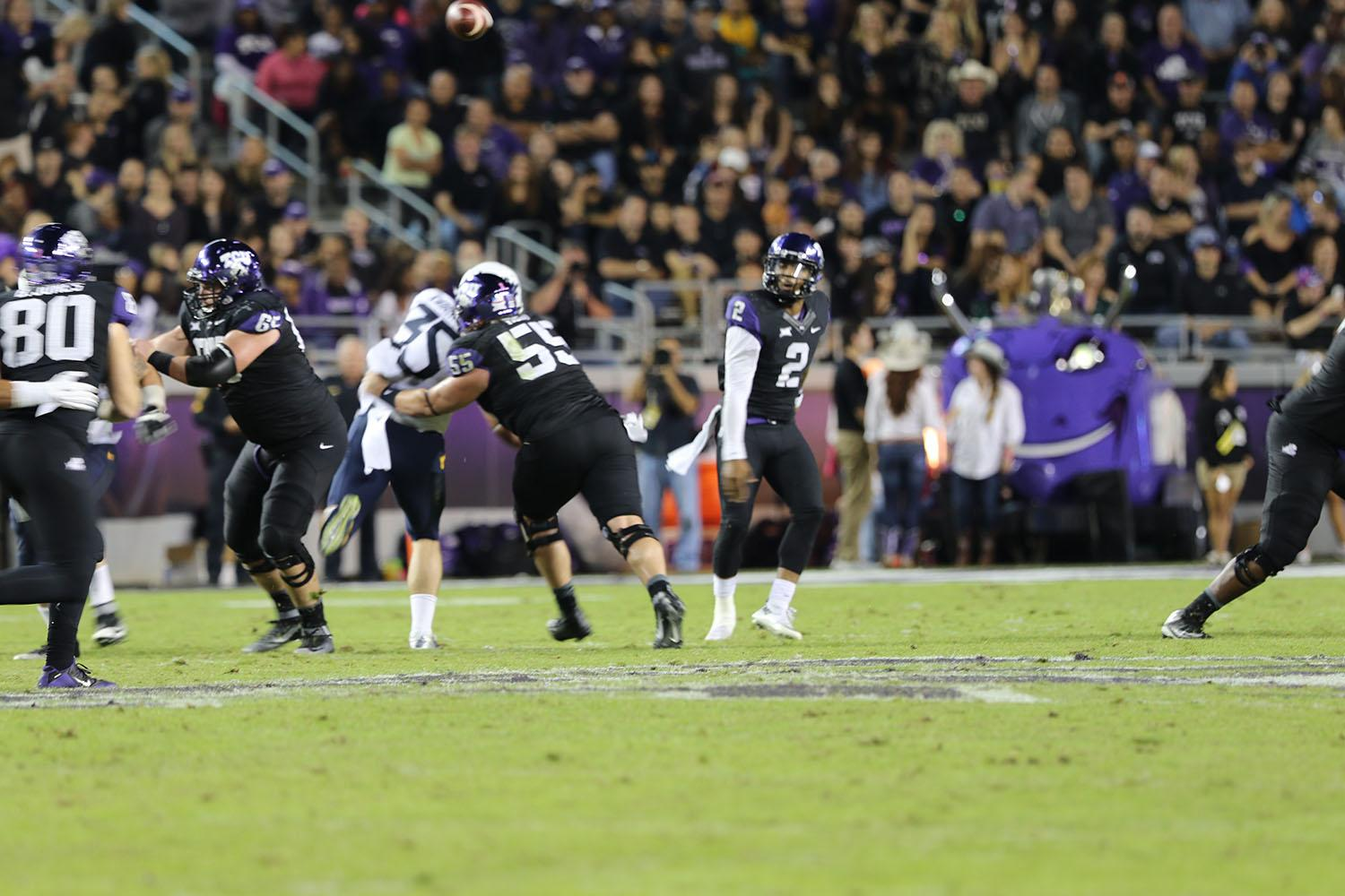 Trevone Boykin watches the ball sail during Thursday's victory over West Virginia
