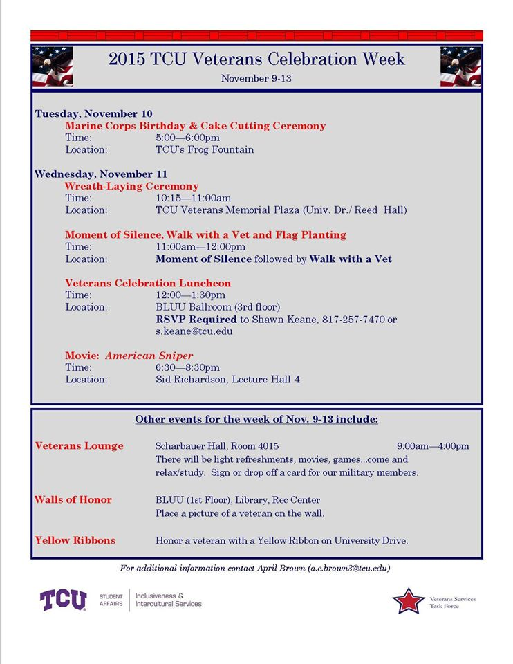 A list of events for Veterans Week at TCU