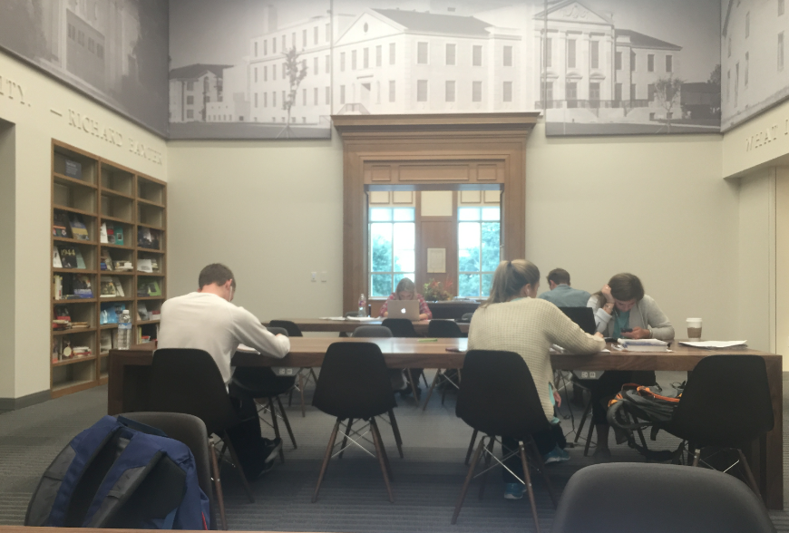 Students are utilizing the new wing of the library to study for upcoming finals.