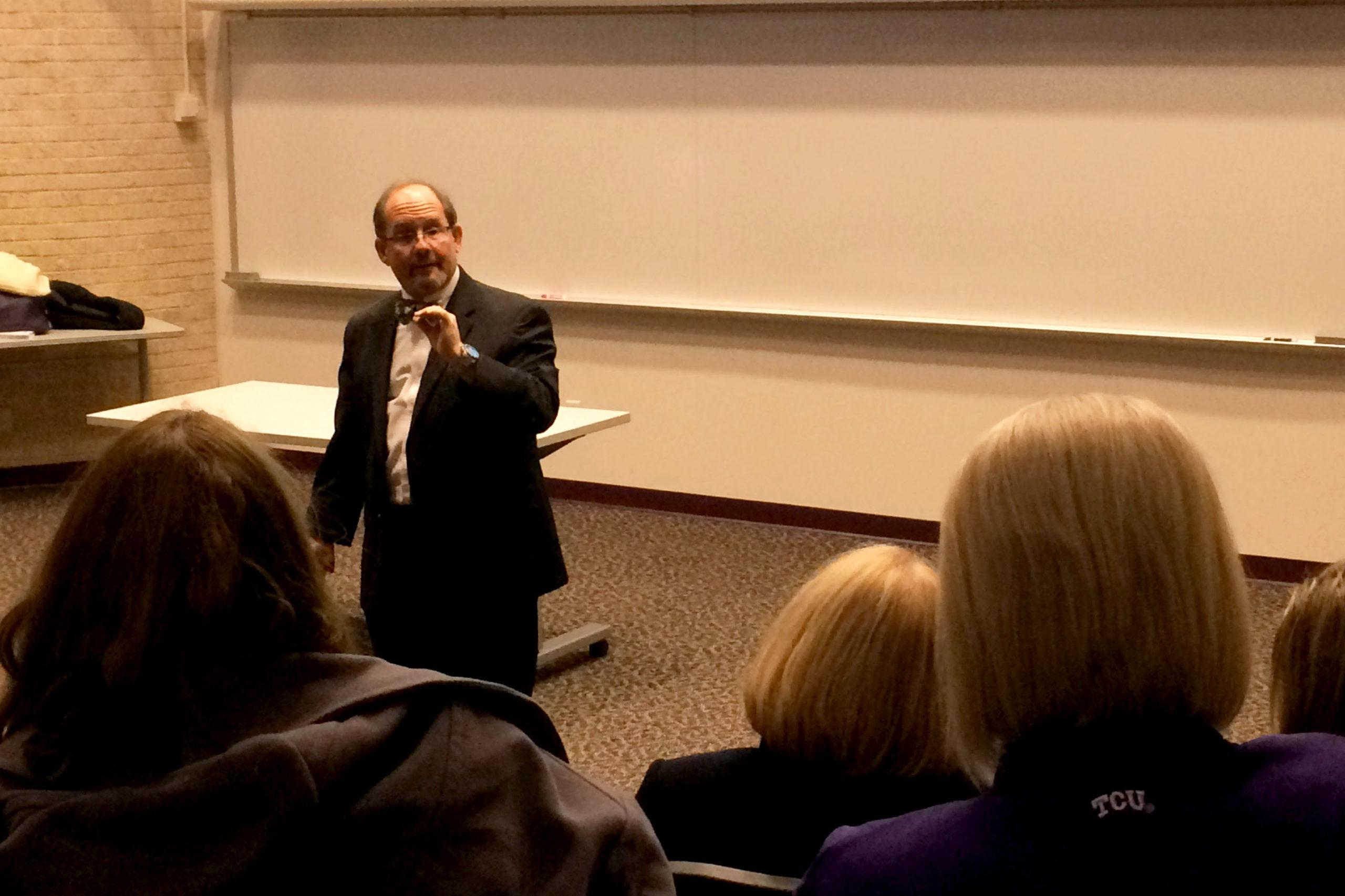 Dr. Marc Kahn was the third of four dean candidates for TCU's new medical school to speak at an open forum.