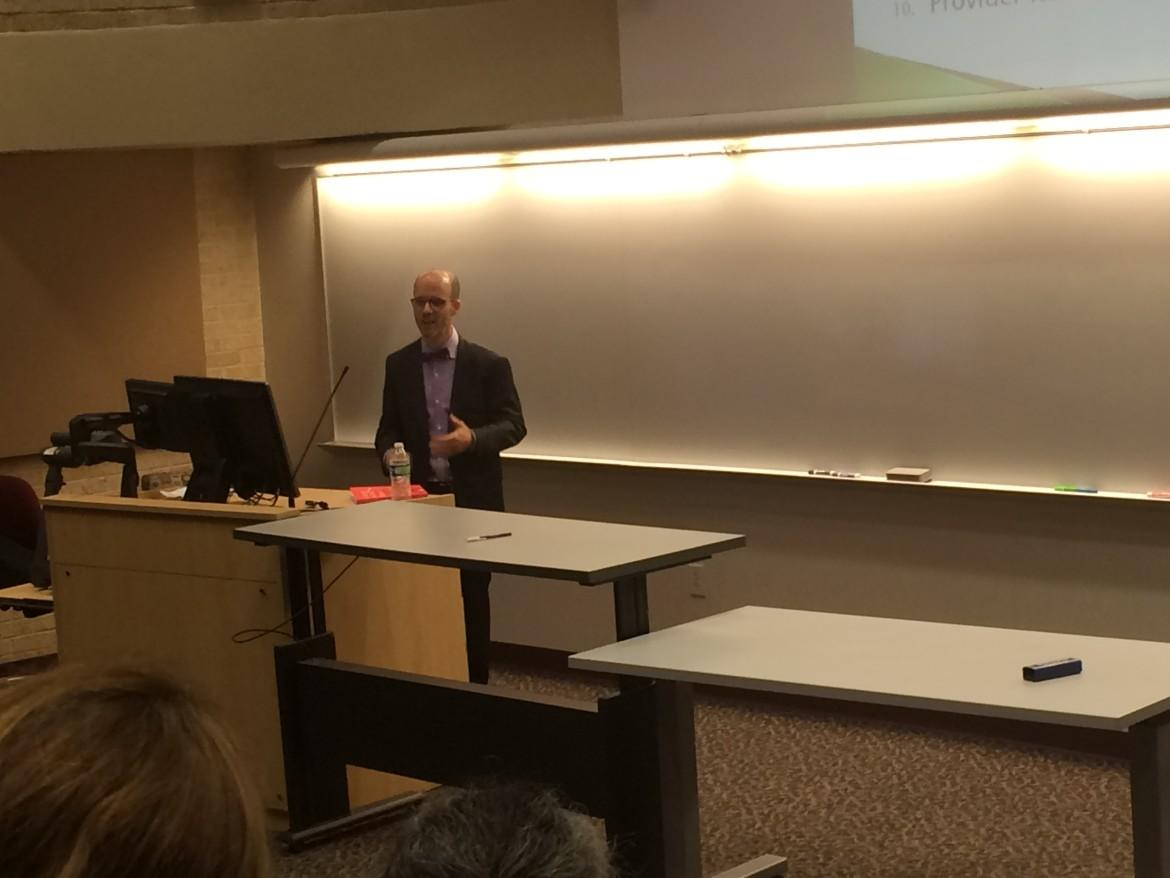 Dr. Saul Weiner spoke to TCU faculty and students at an open forum on Jan. 20 about his plans for the new joint medical school (Briana Jones/TCU360).