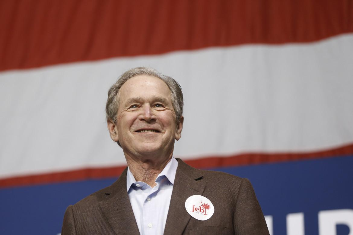 Former President George W. Bush campaigns for his brother Republican presidential candidate, former Florida Gov. Jeb Bush Monday, Feb. 15, 2016, in North Charleston, S.C.