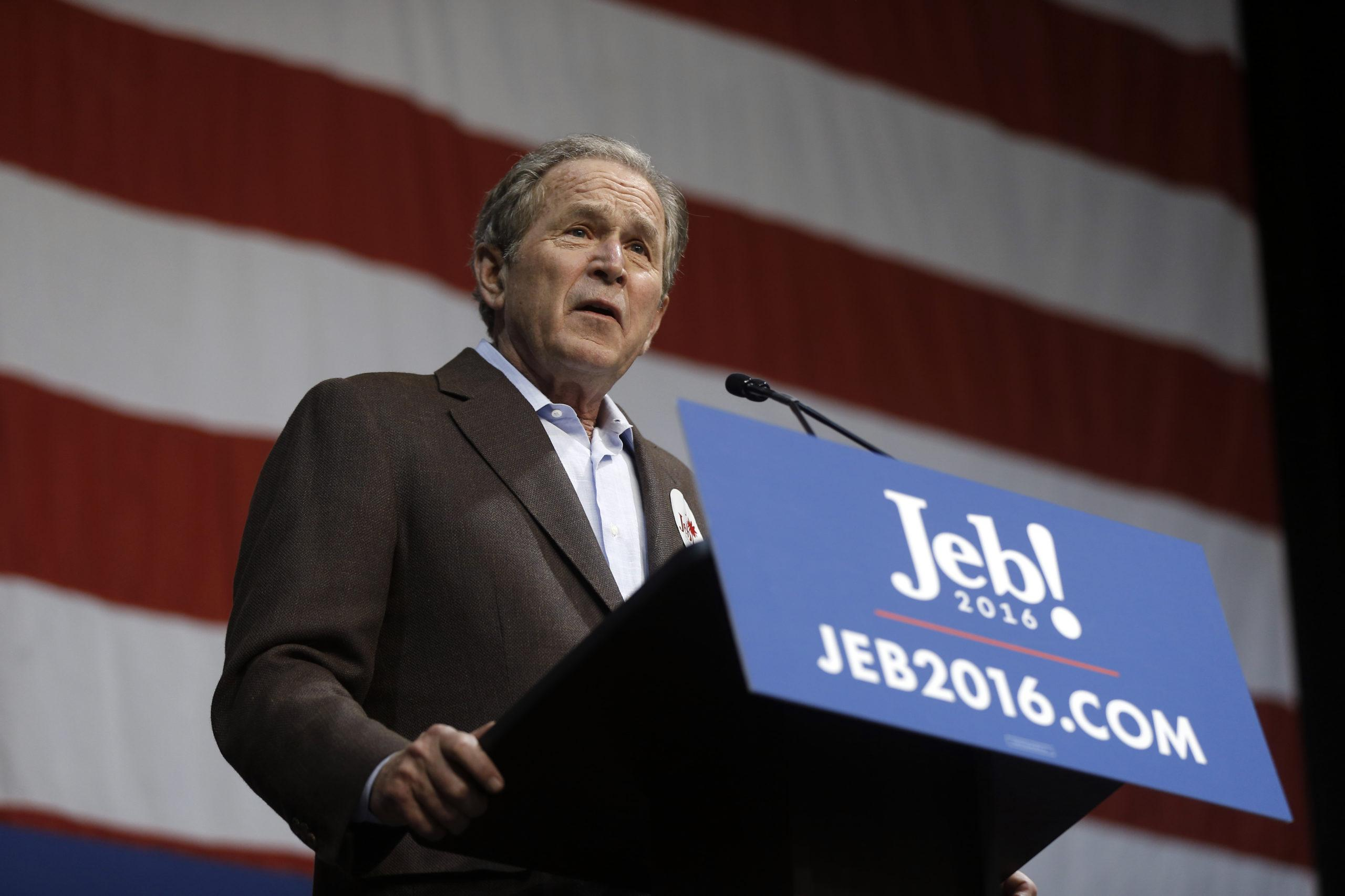Former President George W. Bush campaigns for his brother Republican presidential candidate, former Florida Gov. Jeb Bush on Feb. 15 in South Carolina. Jeb Bush suspended his presidential campaign this weekend.