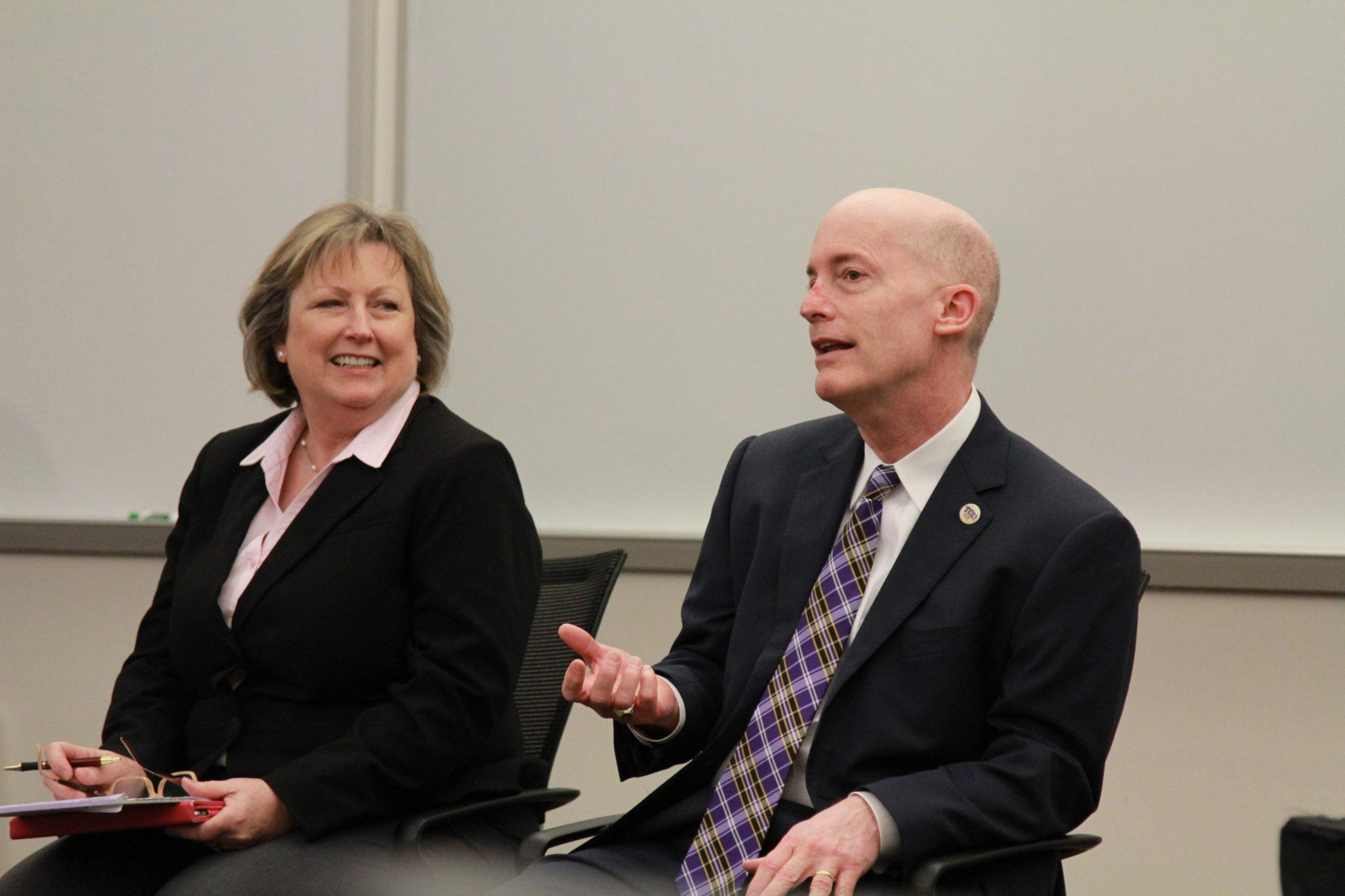 Chancellor Victor Boschini and Dean of Graduate Studies Bonnie Melhart announced that some graduate students can now have three quarters of their health insurance paid for by TCU.