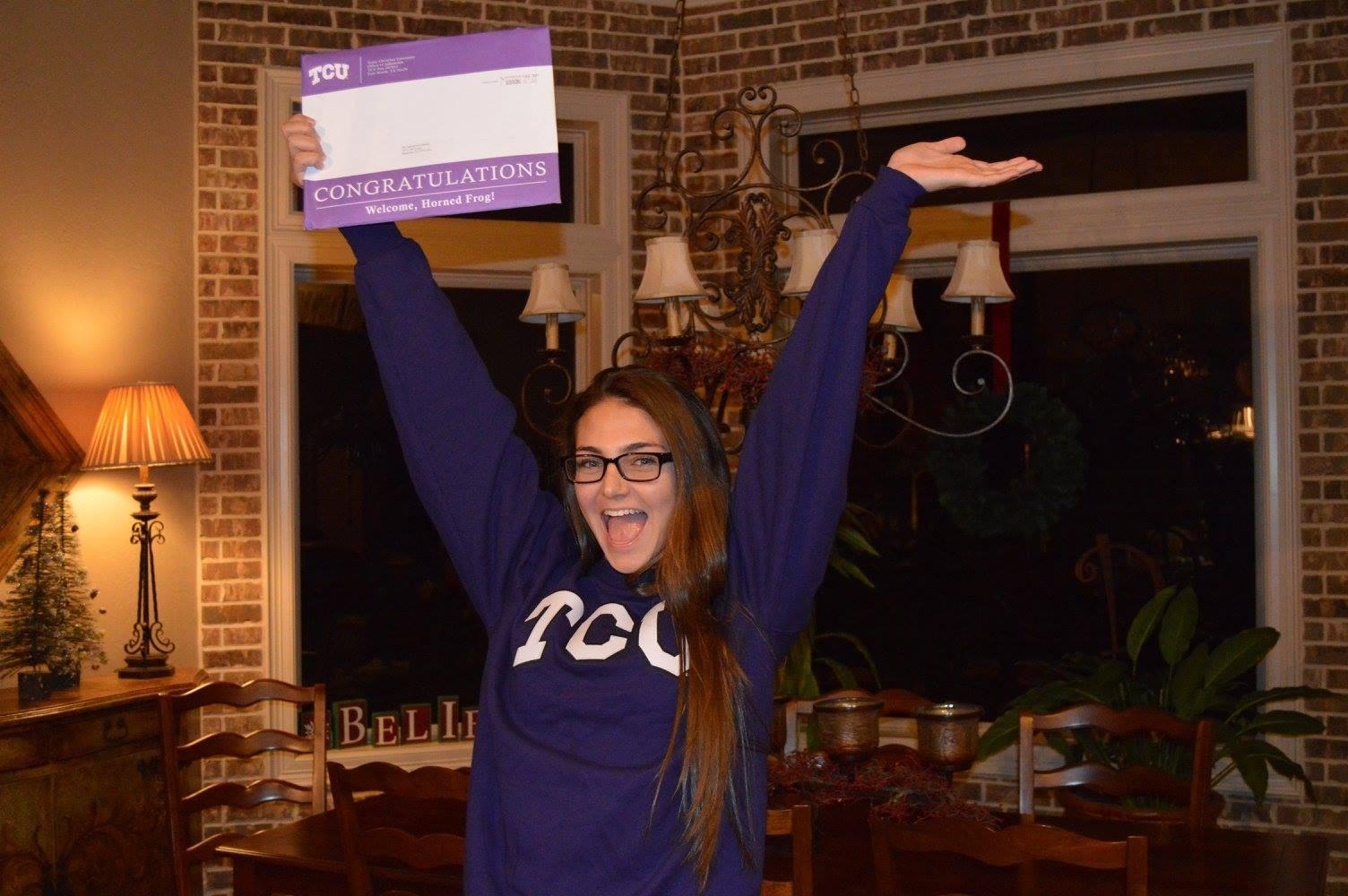 Hannah Dooley, after being accepted to TCU, made a video on the Vivoom app to show off her excitement.
