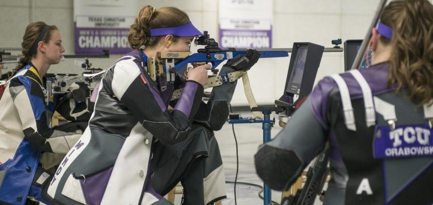 The rifle team, seen here at the Patriot Championships, dropped their first match of the season against Air Force.