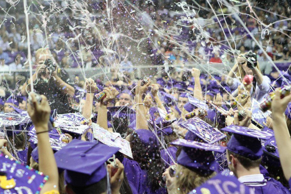 The 69th class of TCU's Harris College of Nursing & Health Sciences celebrate at the spring commencement ceremony. The school traditionally celebrates by spraying silly string and throwing confetti into the air.