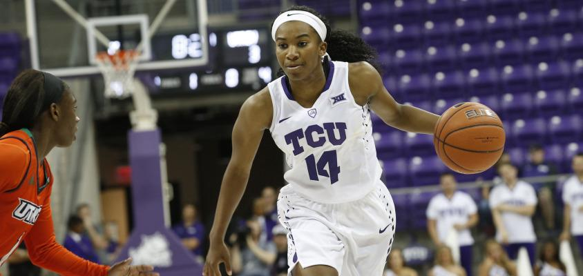 TCU plays UT Rio Grande Valley in the WNIT at Schollmaier Arena in Fort Worth, Texas on March 17, 2016. (Photo by/Sharon Ellman)