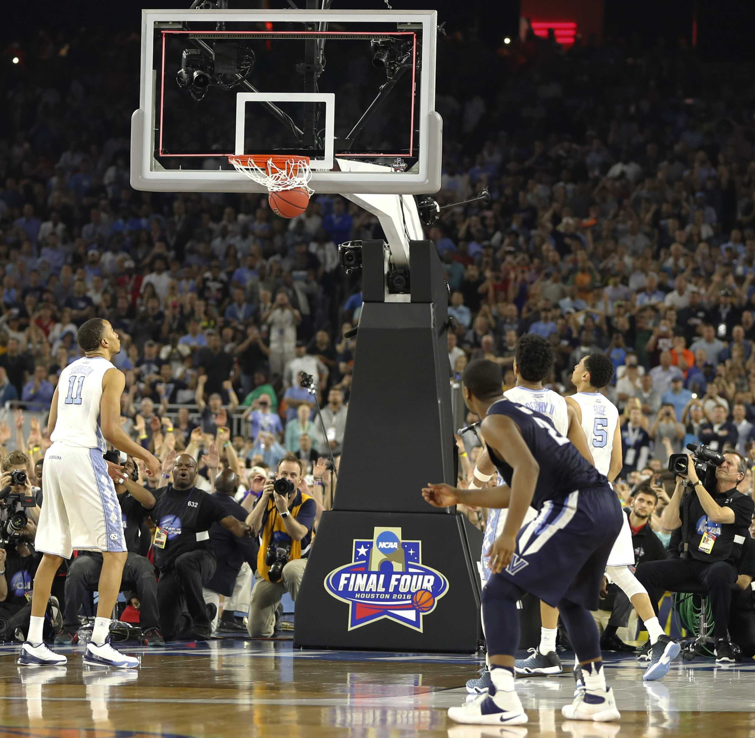 Villanova's Kris Jenkins (2) watches his game winning three point basket at the closing seconds of the NCAA Final Four tournament.