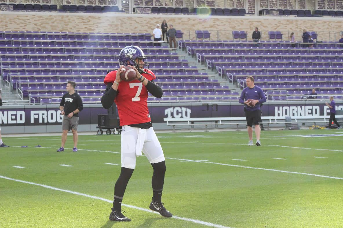 In his first action at TCU, Kenny Hill ran with the starters. Photos were limited to warmup drills.