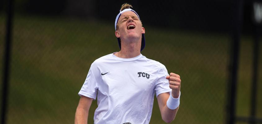 TCU men's tennis celebrated a big win over Rice on Friday.
