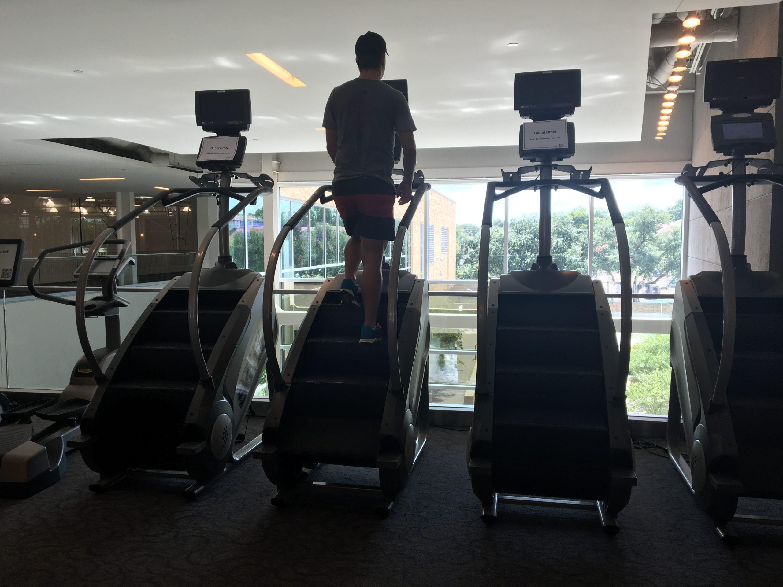 Popular demand of the StairMasters leaves some machines in need of repair.