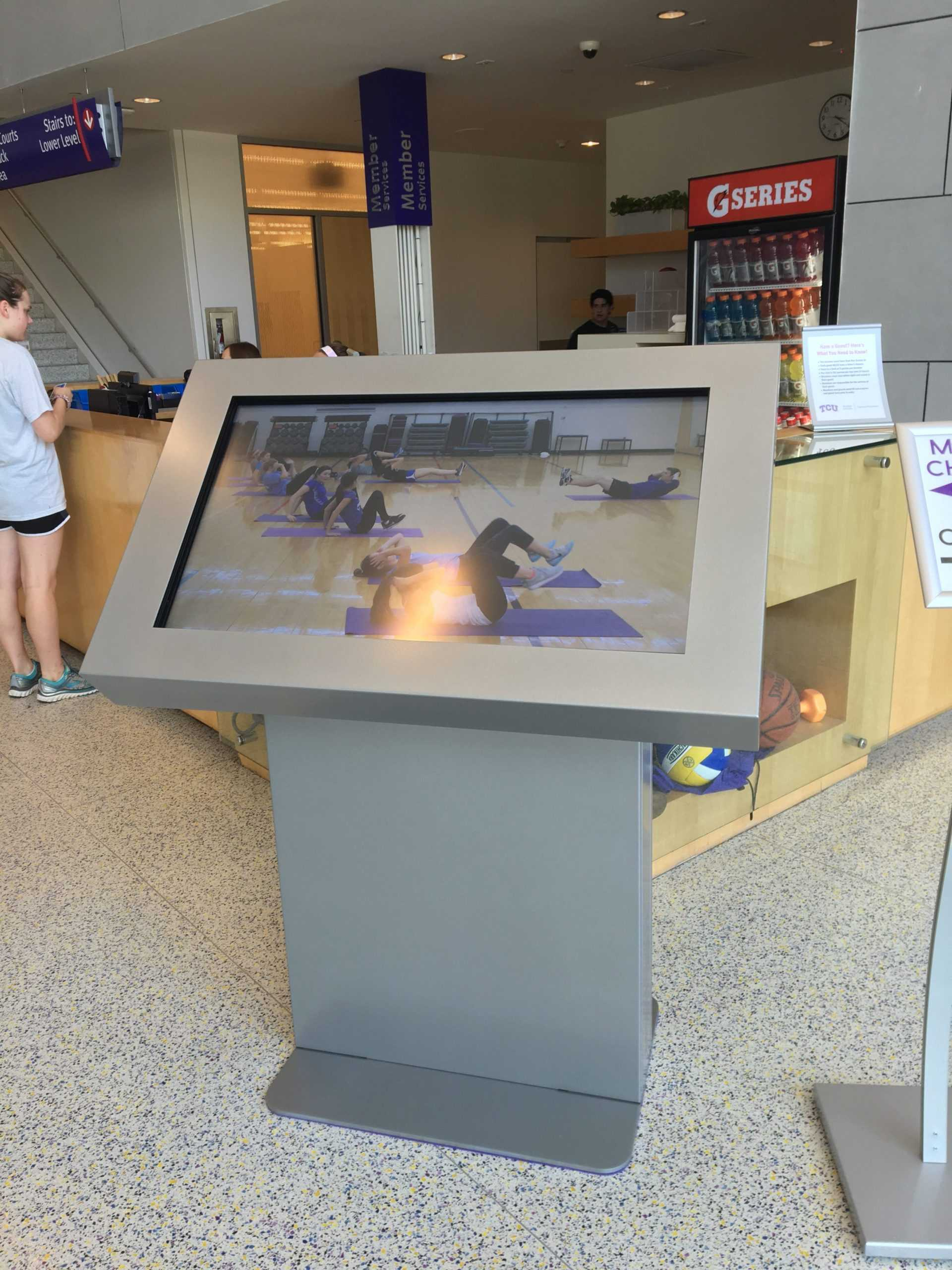 A new interactive screen can be found at the entrance of the rec center. More will be installed by the end of the month.