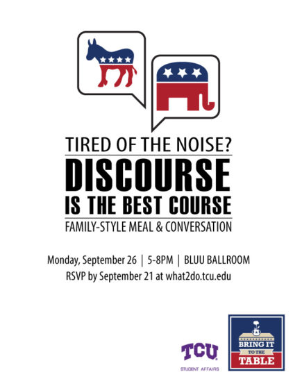 Flyer for the event on Monday. (Photo courtesy of What 2 do @ TCU.)