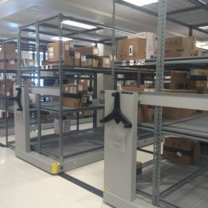 The new high density shelves are used to store more packages.