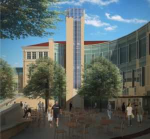Early concept of the north side of the new building looking from Smith Hall. Note: this is an early rendering and may not exactly reflect the final design.