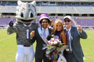 Mr. and Mrs. TCU were crowned by Chancellor Boschini with the help of Superfrog.