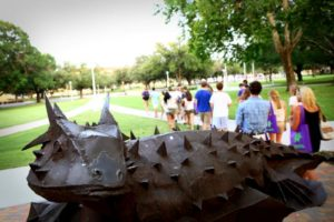 Incoming students walking through campus on a tour. (Photo courtesy of TCU Student Development Services)