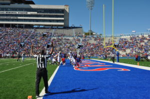 Kenny Hill sprints into the end zone for an 18-yard touchdown against Kansas. Photo Courtesy of Playmakers KU