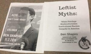 YAF flyer for Ben Shapiro event (Tamera Hyatte/TCU360)