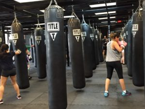 Warm-ups during a boxing class at the Fort Worth Downtown Title Boxing.