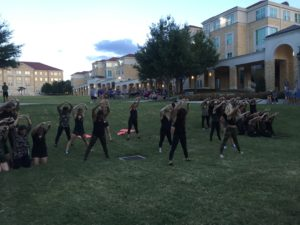 Chi Omega performing in front of the Pi Kapp judges. (Nicole Strong/TCU360)