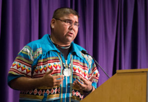 Chebon Kernell, a citizen of the Seminole Nation of Oklahoma, speaks at the panel discussion of the symposium. (Sam Bruton/TCU Staff Photographer)
