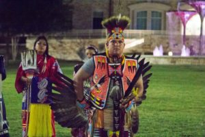 A dancer of the Tribal Traditions Arts and Education group dances in the Commons. (Sam Bruton/TCU Staff Photographer)