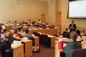 Faculty Senators listening to Chair Jesus Castro-Balbi discuss diversity on Thursday.